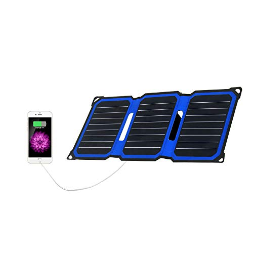 FlexSolar 14W Solar Charger Panel Dual Outputs (USB 5V+DC5521), Folderable Solar Panel with Adjustable Integrated Stand,and Solar Cell Panel LED Charging Indicator