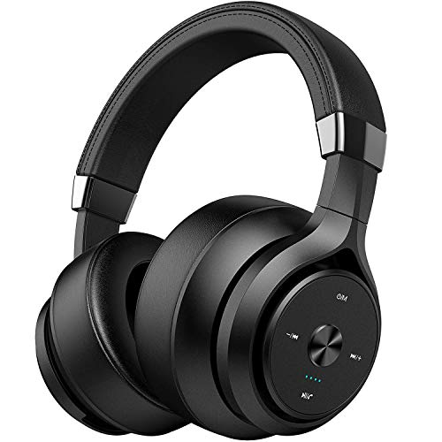 Wireless Headphones Dual Driver 40 Hrs Playtime Over Ear, Picun EQ Bass Bluetooth Headphones, Hifi Stereo 4 Dynamic Driver Hybrid Headset w/ Mic, Soft Protein Earpads for Gym Work Cellphone PC -Black