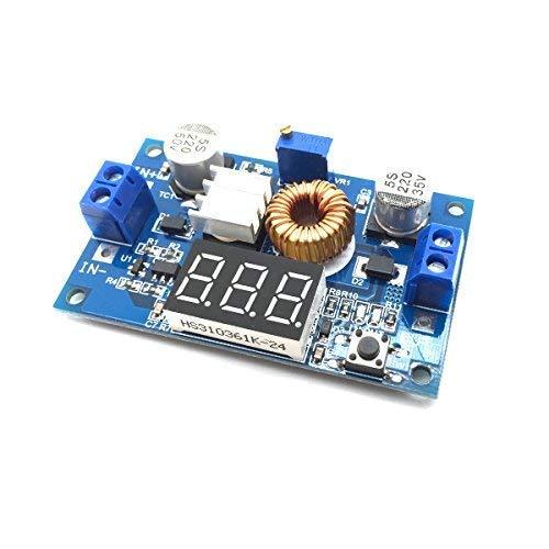AptoFun 75W 5A DC-DC Adjustable Step Down Buck Module With Voltmeter Copper Pillars (C6B3) /DC-DC Step Down Power Module 4V-38V to 1.25V-36V 5A Voltmeter Adjustable
