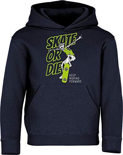 Kinder Pullover: Skate or Die - Hoodie Kapuzenpullover Pulli Skateboard Skaten Skater Skaters Board SK8 - Geschenk Kleidung Junge Jungen Mädchen Kind Sport (Navy 152)