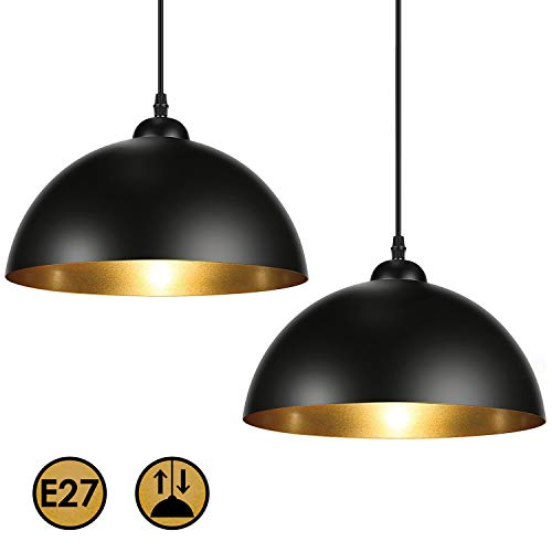Albrillo 2er Pack Industrielle Vintage Pendelleuchte, Φ30 cm für E27 Leuchtmittel, Modern Design Hängeleuchte für Esszimmer, Wohnzimmer, Restaurant, Schwarz Eisen Lampenschirm