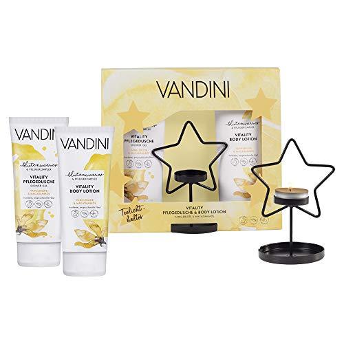 VANDINI Geschenkset mit Teelichthalter, VITALITY Pflegedusche und Bodylotion (2x200ml) - Vanilleblüte & Macadamiaöl