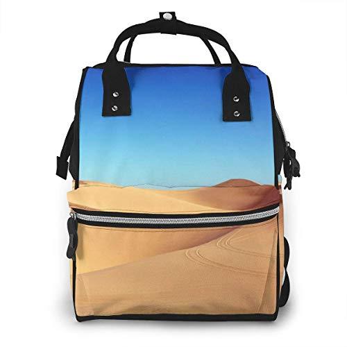 GXGZ Vast Desert Blue Sky Nature Sac à dos imperméable à couches, compartiment avec deux poches et huit rangements, sacs d'allaitement élégants et durables pour les parents