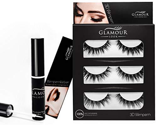 GlamourLook künstliche Wimpern Set mit Wimpernkleber 3 Paar falsche Wimpern 3D
