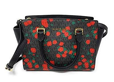 Michael Kors Black Red SELMA Leather Messenger Bag