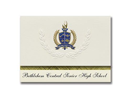 Signature Announcements Bethlehem Central Senior High School (Delmar, NY) Abschluss-Ankündigung, Presidential Elite Pack 25 mit Gold & Blau Metallic Folien-Siegel