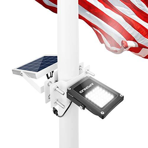 "APONUO Flagpole Solar Light Flagpole Lights Waterproof Super Bright Solar Flag Pole Light Pole Mount 2 Brightness for 1.4-3"" Flag Pole Outdoor Dusk to Dawn (Cool White)"