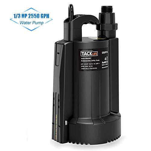 TACKLIFE Submersible Sump Pump, 1/3 HP Automatic Switch Electric Water Pump with Low Noise and Check Valve, High-efficiency Pure Copper Motor, 2550 GPH Max Flow Swimming Pool Garden Pond Flood Drain