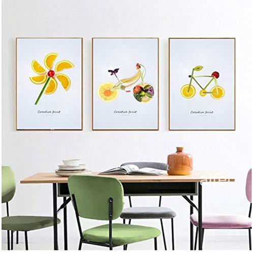 Zhaoyangeng Nordic Decoratie kunst poster moderne creatieve fruit canvas schilderij abstracte wandafbeeldingen voor keuken fruit winkel 40X50Cmx3 geen lijst
