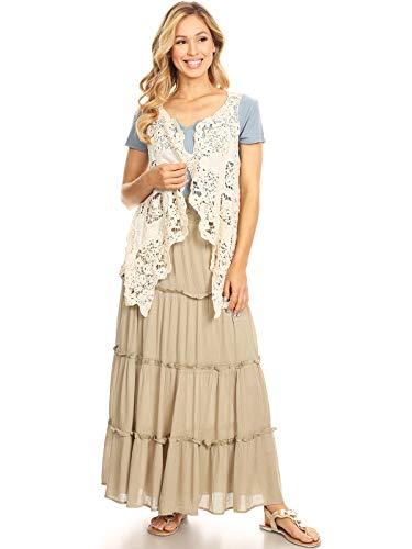 Anna-Kaci - Chaleco de ganchillo para mujer, sin mangas, diseño de flores