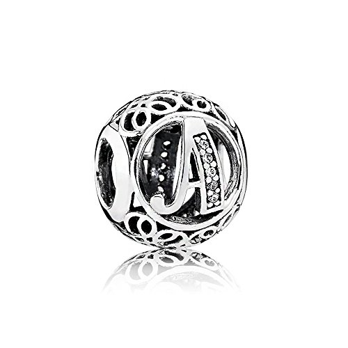 LaMenars Vintage Alphabet Letter Charm 925 Sterling Silver Beads Charms con Clear Cubi Ziconia Compatibile con bracciali e collane europee Regalo di compleanno per donne e ragazze (lettera A)
