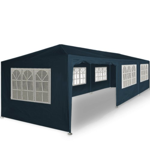 Deuba Carpa Plegable Paris 3x9m Azul Cenador Resistente al Agua Gazebo con protección UV 50 - Pabellon jardín