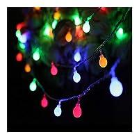 カラフル バッテリーのクリスマスライトガーランド3メートル5メートル10メートルツェッペリンボールストリングライトクリスマスライトガーランドデコレーションライト 屋外装飾 (Color : Multicolor, Size : 10M 80Leds)