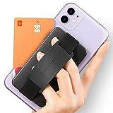 Sinjimoru Handy Kartenhalter, 3in1 Slim Wallet & Handy Halter mit Ständer, Handy Fingerhalter, Fingerhalterung Handy für iPhone und Android, Sinji Card Zip Band Grip. (Schwarz mit Band Schwarz)