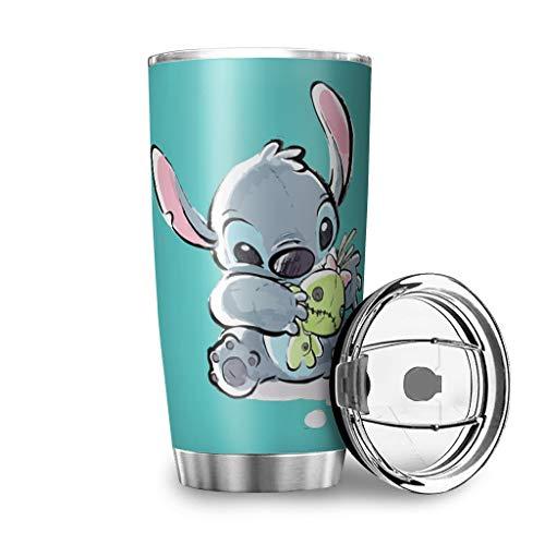 Caixiabeauty Taza de café de acero inoxidable de Stitch, a prueba de fugas, termo de doble pared y aislamiento al vacío, taza de coche con tapa, para viajes, fitness, coche, color blanco, 600 ml