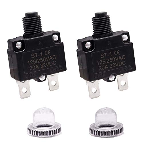smseace 2PCS 20Amp Electric Button Breaker 125/250VAC, Overload Protector with Manual Reset, Waterproof Button Cap ST-1-20A