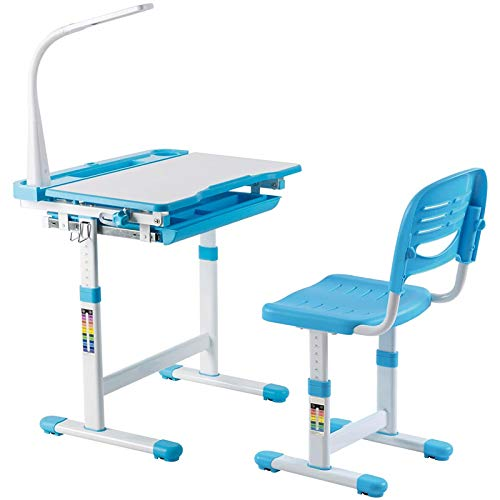Moolo Kids Table Chair Höhenverstellbarer Kinderschreibtischstuhl mit LED-Lampe Bücherständer Kinderschreibtisch Hausaufgaben-Schreibtisch (blau)