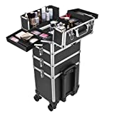 VIVOHOME 4 in 1 Makeup Rolling Train Case Aluminum Trolley Professional Cosmetic Organizer Box with Shoulder Straps 2 Keys Black(Cosmetic are not included)