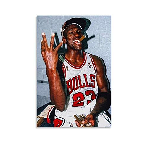 LINMEIMEI Póster deportivo de Michael Jordan de 1998, diseño de jugador de baloncesto de cigarros de Michael Jordan