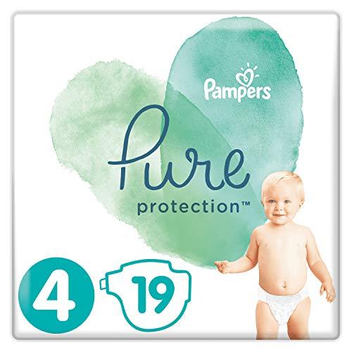 Pampers Größe 4 Pure Protection Baby Windeln, 19 Stück, Tragepack, Mit Premium-Baumwolle Und Pflanzenbasierten Materialien (9-14kg)