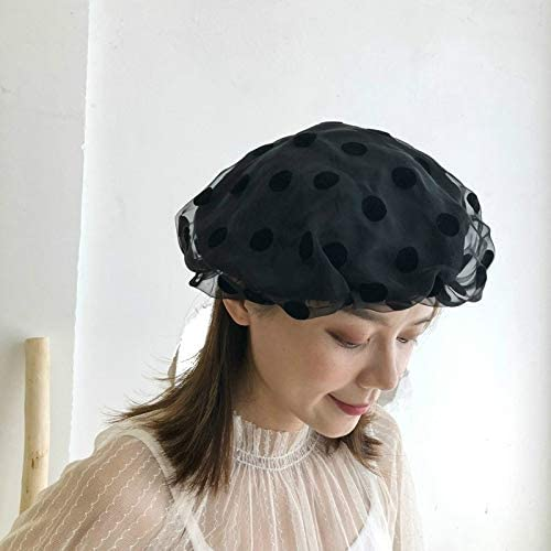 ZHANGQUAN Sun Hats Outdoor Fashion Leisure Elegant Sweet Style Lace Beret, Suitable for Head Circumference: 56-58cm(Black) (Color : Black)