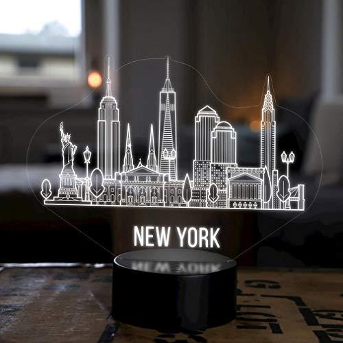 Lampe LED Deco New York City Skyline - Elbeffekt - USA Amérique Décoration - Voyage Voyage Souvenir Souvenirs Cadeaux Souvenirs