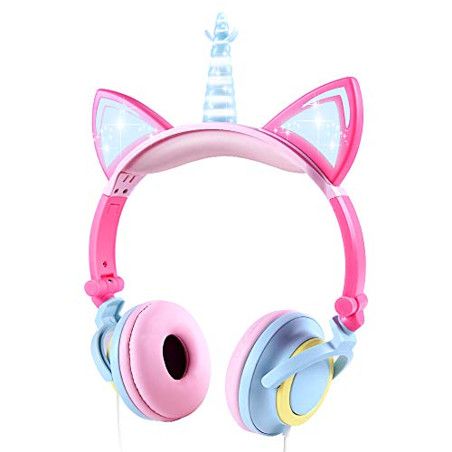 LOBKIN Unicorn Kids Cat Ear Kopfhörer LED Licht Up Earphone Wired Adjustable for Boys Girls Back to School Supplies, Kids Headband Earphone Folable Over On Ear Game Headset for Toddlers