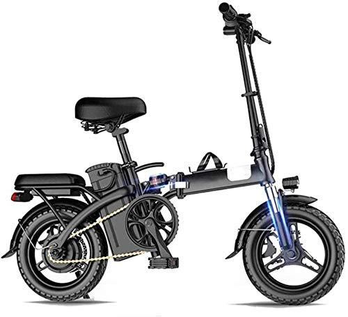 Folding Electric Bike for Adults, 18-Inch Commute Ebike with 350W Motor, 48V 8Ah Battery, Disc Brake and Five-Fold Shock Absorption,Max Load 250Kg,Mileage 200Km,Mileage 500KM