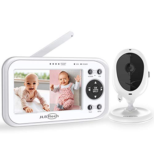 Baby Monitor,JLB7tech 4.3' Split Screen Video Baby Monitor with 2 Cameras and Audio,Night Vision,Two-Way Talk,Long Range,Feeding Time,Lullabies,Temperature Detection,Power Saving/Vox,Zoom in
