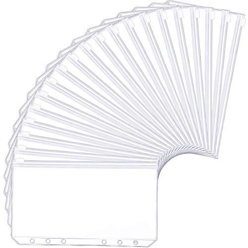20 carpetas de plástico translúcido, tamaño A5, con 6 agujeros, con cremallera, resistente al agua, con cremallera, bolsas de hojas sueltas para archivos, documentos, cuadernos y tarjetas