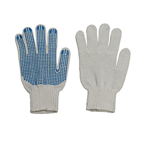 Xclou Arbeitshandschuhe, weiße Innenseite mit blauen Gumminoppen, Handschuhe für Arbeitsschutz, Fingerschutz, Größe 10 (XL), grün