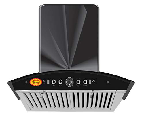 SURYA TD-1400 Auto clean Kitchen Chimney With Hand Wave Sensor, Auto Clean, Wave Sensor, Baffle Filter & Touch Panel In Black Stainless Steel