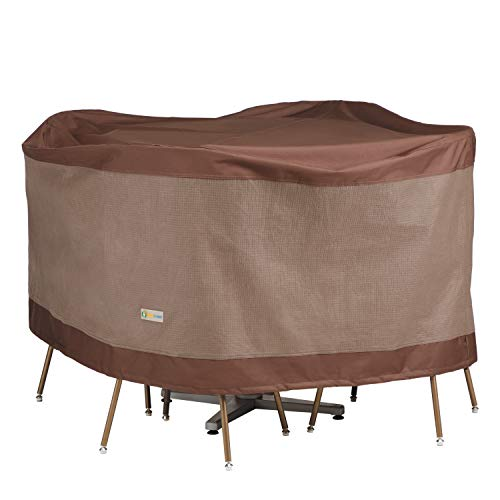 Duck Covers Ultimate Water-Resistant 56 Inch Round Patio Table & Chair Set Cover
