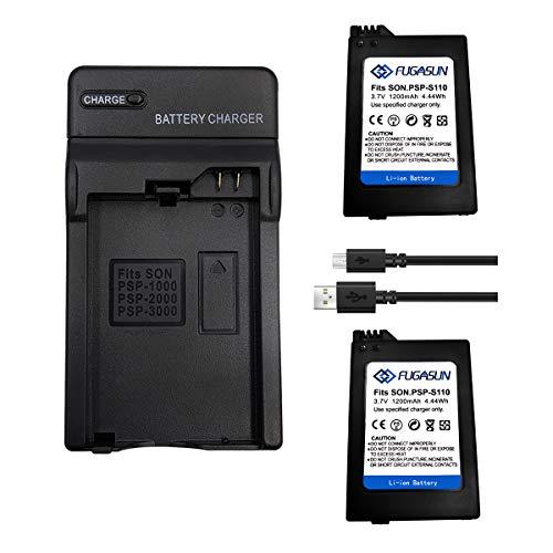 2 baterías PSP-S110 de 1200 mAH con cargador de batería para Playstation PSP2000 PSP2001 PSP2003 PSP2004 PSP3000 PSP3001 PSP3003 PSP3004
