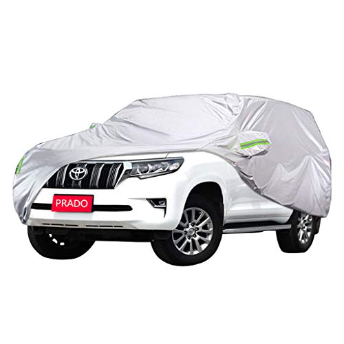Cubierta for automóvil SUV transpirable totalmente impermeable - Forrado de algodón - Trabajo pesado - Plateado (Medio - for Toyo-ta PRADO) (Size : 2018)