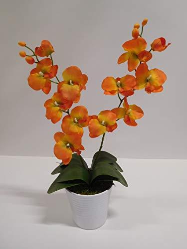 Ziegler Orchidee Phalaenopsis 2 Rispen Kunstpflanze Dekopflanze 60 cm orange 60301-18 getopft F73