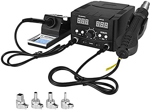 Estación de desoldar de aire caliente, 4YANG soldador de pistola de aire caliente 2 en 1, kit de soldadura digital, pantalla LED digital, corrección de temperatura y función de suspensión.