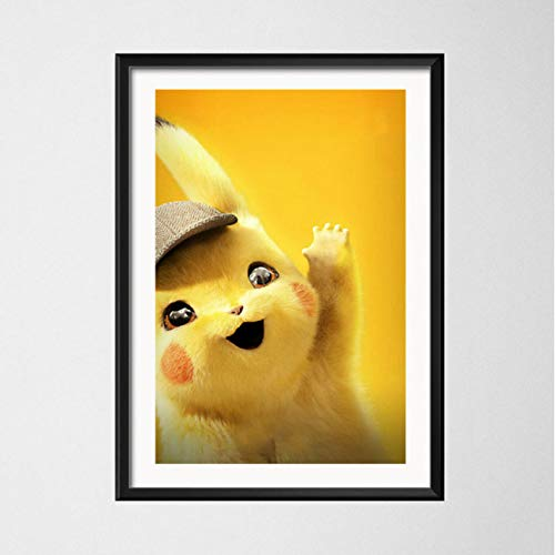 PCCASEWIND Frameless Painting 50X70Cm, Detective Pikachu Shipping Film Art Silk Painting Canvas Wall Poster Home Decor,Pc-302