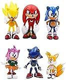 ANMINE Figura Sonic Toys 6 UNIDS / Lot Anime 6 UNIDS / Set Sonic Anime Modelo Coleccionables Regalos...
