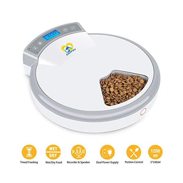 Casfuy 5-meals Automatic Cat Feeder – Auto Pet Feeder with Programmable Timer Dry and Wet Food Dispenser Voice Recorder & Speaker for Cat and Small Medium Dog Portion Control Dual Power Supply 5x240ml
