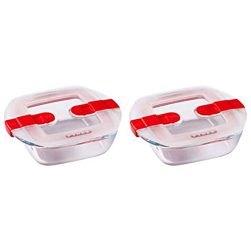 Pyrex Microwave Safe Classic Square Glass Dish with Vented Lid 1L Red (Pack of 2)