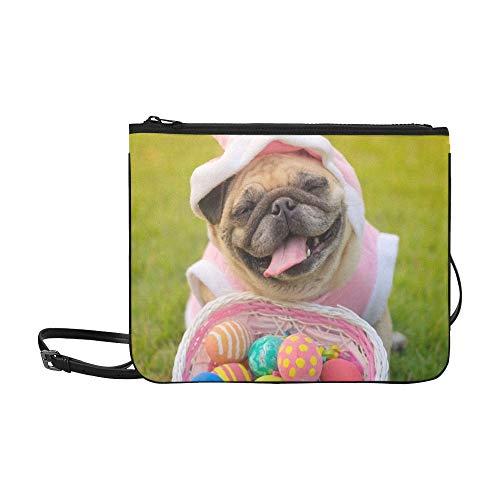 JEOLVP Kitz-Mops-Hundetragendes Kaninchen-Kostüm Stockfoto Muster-Gewohnheit hochwertiges dünnes Nylon-Clutch Bag Cross-Body Bag Shoulder Bag