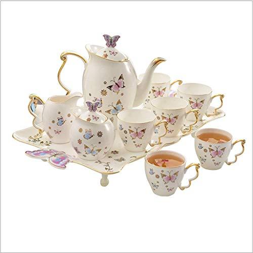 N/Z Equipo para el hogar Tazas de café Tetera de la Tarde Juego de Taza y platillo de café de Lujo Ligero Juego de café pequeño de Lujo de cerámica para el hogar Taza y platillo de té de Porcelana