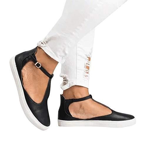Alaso Espadrilles Femme Pas Cher Été Chaussures Plates Bride Cheville à Boucle en Cuir Métallisé Slip-on Shoes Casual Loafers Mocassins