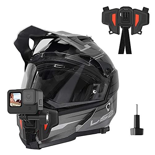TELESIN Correa para casco de motocicleta con soporte frontal para GoPro Hero 10 Hero 9 8 7 6 5 Negro insta360 DJI Osmo acción y la mayoría de las cámaras de acción deportivas
