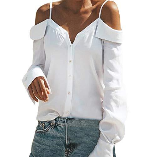Barkoiesy Blouse Femme Epaules Dénudées Chemisier Col V Manches Longue Tunique Epaule Nue à Bretelles Haut Fluide Chic Tops Casual T- Shirt Chic Chemise Bouton Tunique Loose Couleur Unie