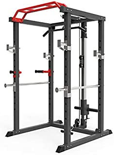 【Brand New】 Power Rack Cage w/LAT Pull Down Dip Bar Bench Press Squats Home Gym