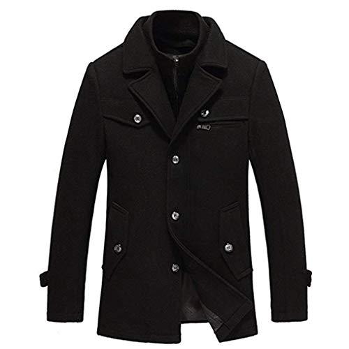 LIHUA Herren Wollmischung Wintermantel Mittellange Dicke und warme Outwear PEA Coats (Farbe : SCHWARZ, größe : M/170)