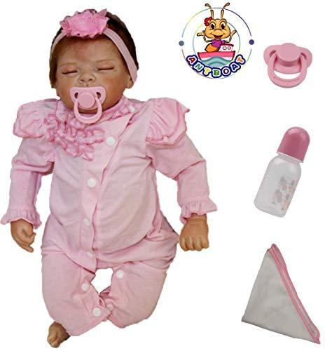 Antboat Muñecas Reborn Bebé Niña 22 Pulgadas 55cm Silicona Suave Vinilo Vida Real Chicas Durmiendo Realista Juguetes Magnéticos Bebes Reborn Dolls