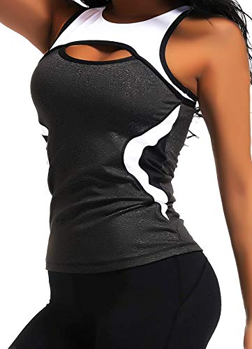 CROSS1946 Damen Sporttop Yoga Colorblock Oberteil Laufen Fitness Funktions Shirt Tank Tops Schwarz Small